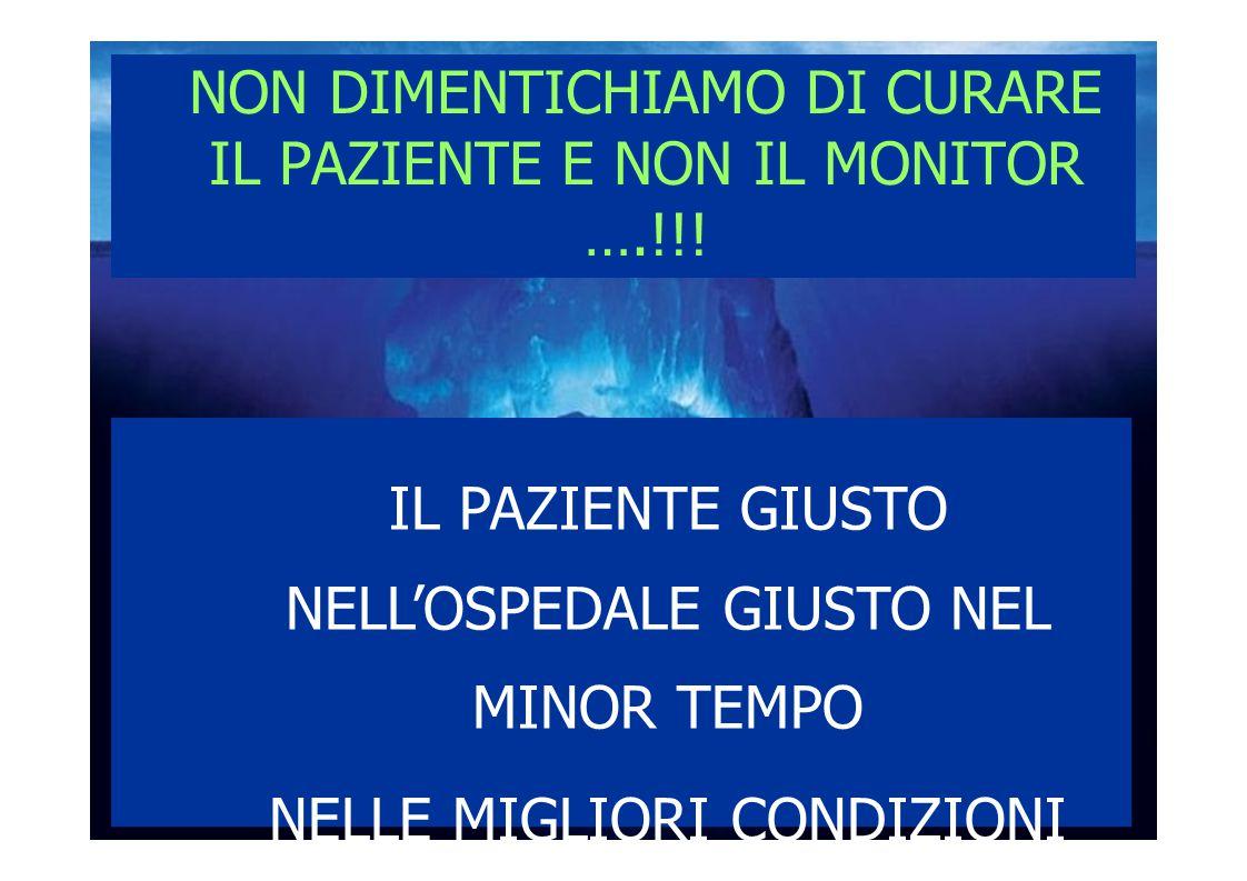 IL PAZIENTE GIUSTO NELL'OSPEDALE GIUSTO NEL MINOR TEMPO NELLE MIGLIORI CONDIZIONI NON DIMENTICHIAMO DI CURARE IL PAZIENTE E NON IL MONITOR ….!!!