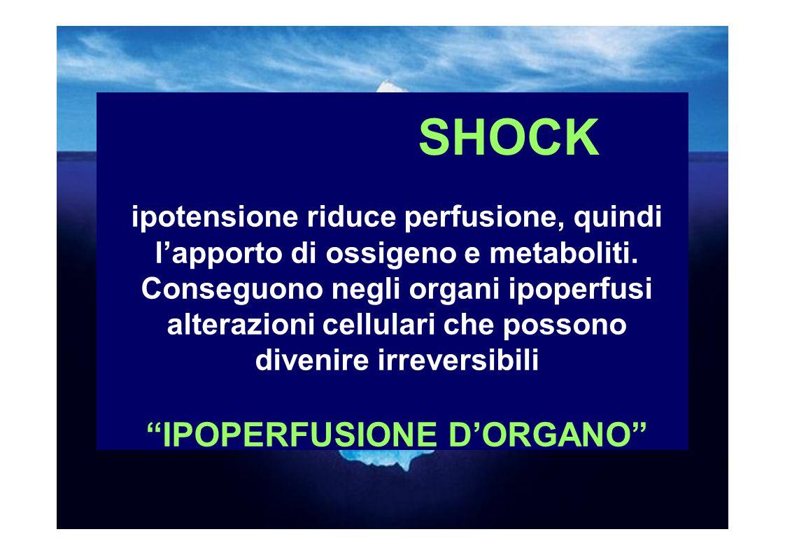 SHOCK ipotensione riduce perfusione, quindi l'apporto di ossigeno e metaboliti.