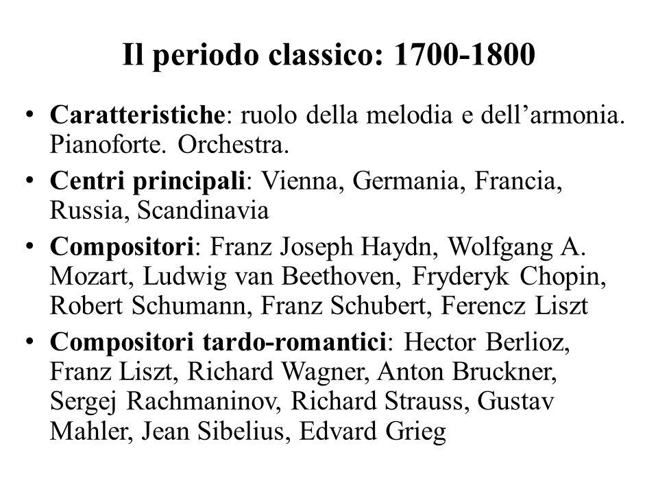 Il periodo classico: 1700-1800 Caratteristiche: ruolo della melodia e dell'armonia. Pianoforte. Orchestra. Centri principali: Vienna, Germania, Franci