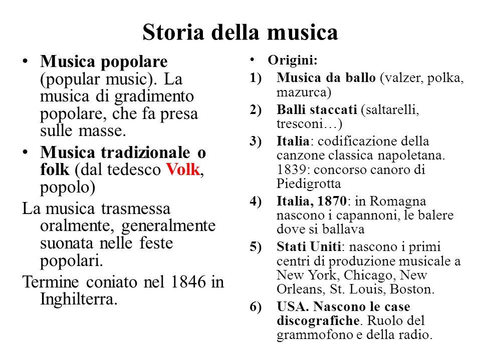 Storia della musica Musica popolare (popular music). La musica di gradimento popolare, che fa presa sulle masse. Musica tradizionale o folk (dal tedes