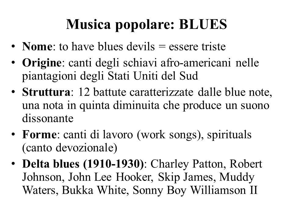 Musica popolare: BLUES Nome: to have blues devils = essere triste Origine: canti degli schiavi afro-americani nelle piantagioni degli Stati Uniti del