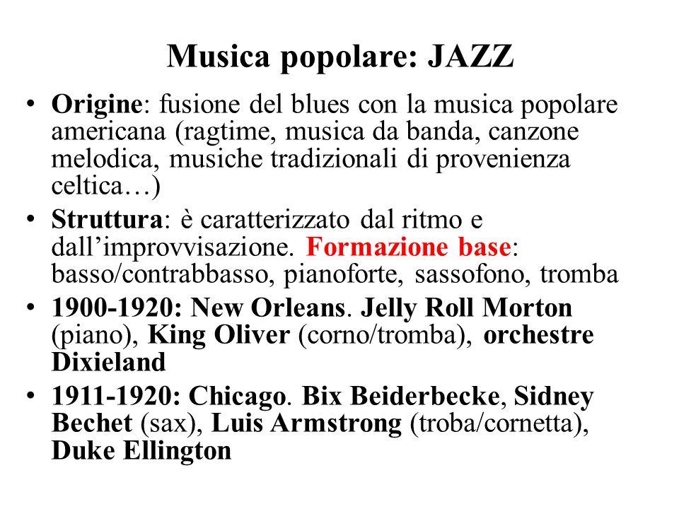 Musica popolare: JAZZ Origine: fusione del blues con la musica popolare americana (ragtime, musica da banda, canzone melodica, musiche tradizionali di