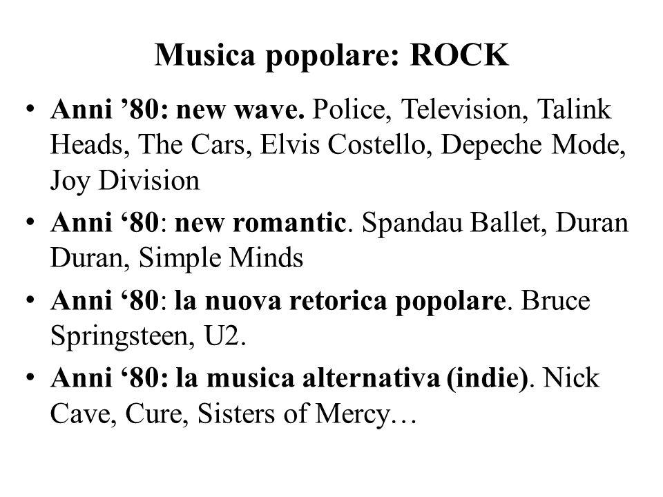 Musica popolare: ROCK Anni '80: new wave. Police, Television, Talink Heads, The Cars, Elvis Costello, Depeche Mode, Joy Division Anni '80: new romanti