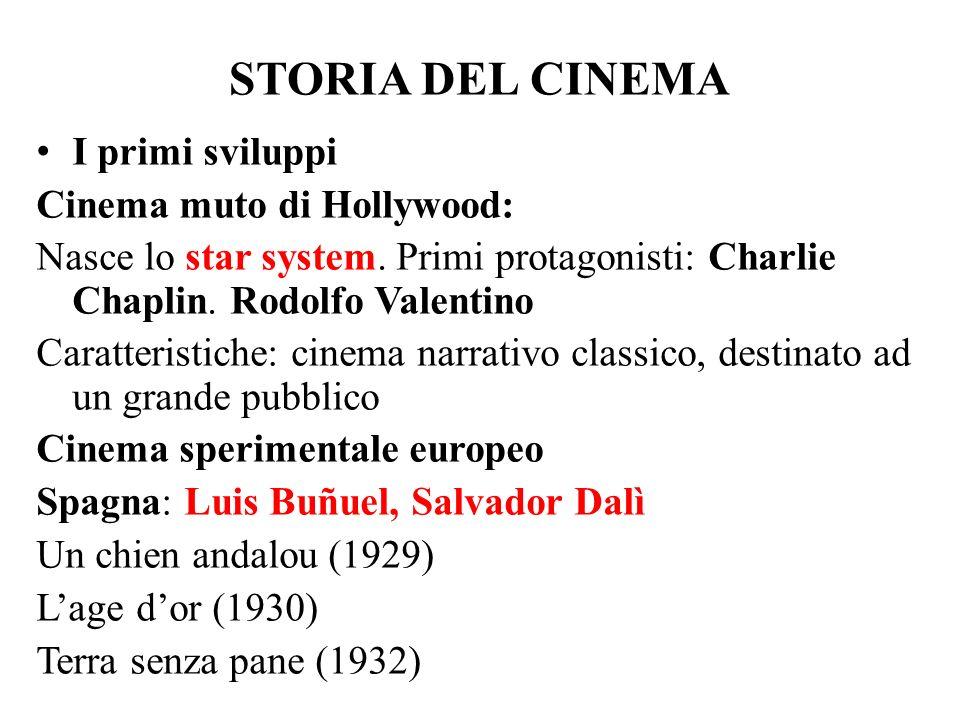 STORIA DEL CINEMA I primi sviluppi Cinema muto di Hollywood: Nasce lo star system. Primi protagonisti: Charlie Chaplin. Rodolfo Valentino Caratteristi