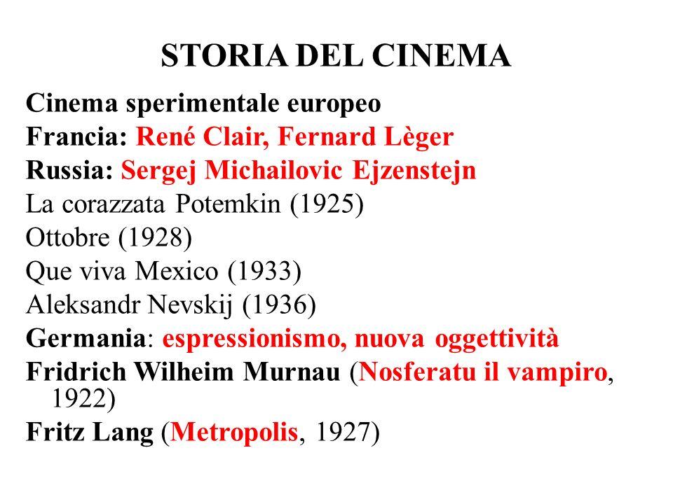 STORIA DEL CINEMA Cinema sperimentale europeo Francia: René Clair, Fernard Lèger Russia: Sergej Michailovic Ejzenstejn La corazzata Potemkin (1925) Ot