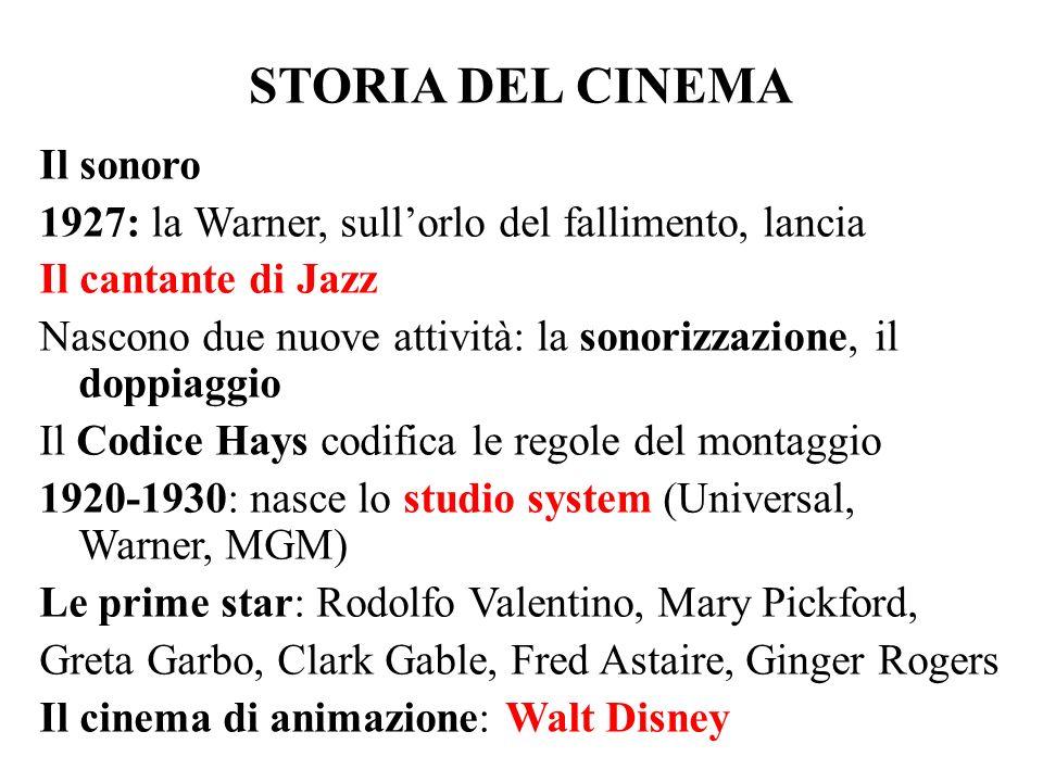 STORIA DEL CINEMA Il sonoro 1927: la Warner, sull'orlo del fallimento, lancia Il cantante di Jazz Nascono due nuove attività: la sonorizzazione, il do