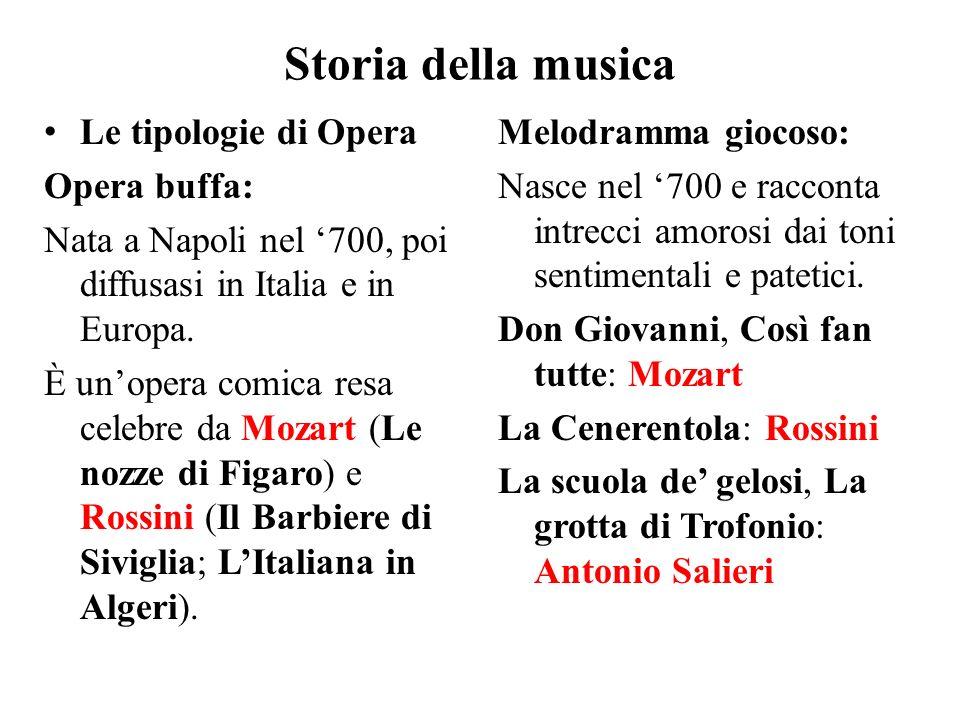Storia della musica Le tipologie di Opera Opera buffa: Nata a Napoli nel '700, poi diffusasi in Italia e in Europa. È un'opera comica resa celebre da
