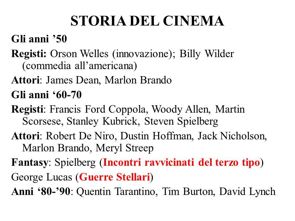 STORIA DEL CINEMA Gli anni '50 Registi: Orson Welles (innovazione); Billy Wilder (commedia all'americana) Attori: James Dean, Marlon Brando Gli anni '