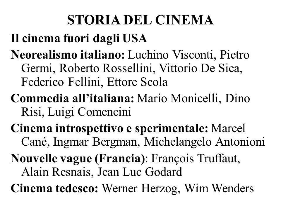 STORIA DEL CINEMA Il cinema fuori dagli USA Neorealismo italiano: Luchino Visconti, Pietro Germi, Roberto Rossellini, Vittorio De Sica, Federico Felli