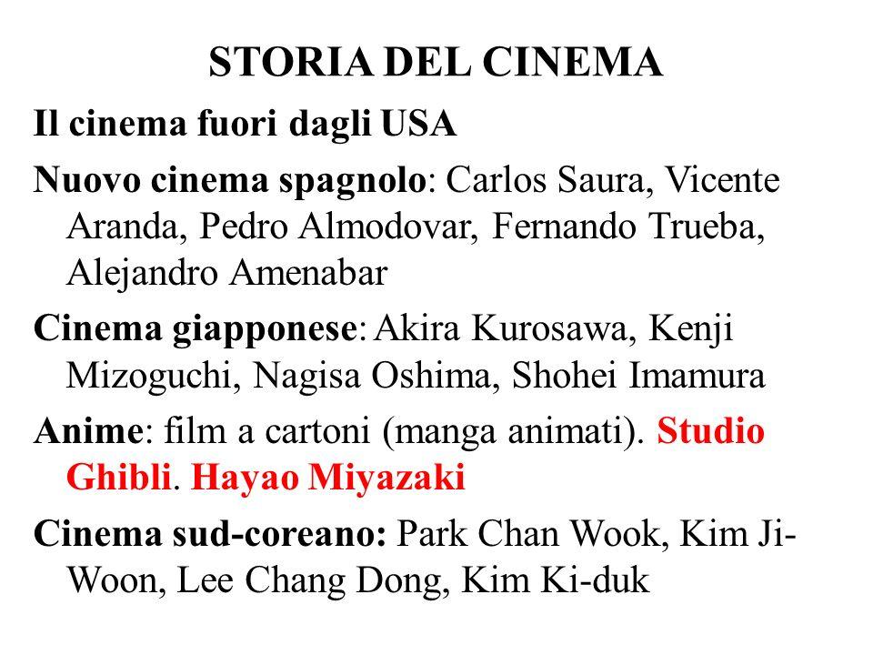 STORIA DEL CINEMA Il cinema fuori dagli USA Nuovo cinema spagnolo: Carlos Saura, Vicente Aranda, Pedro Almodovar, Fernando Trueba, Alejandro Amenabar
