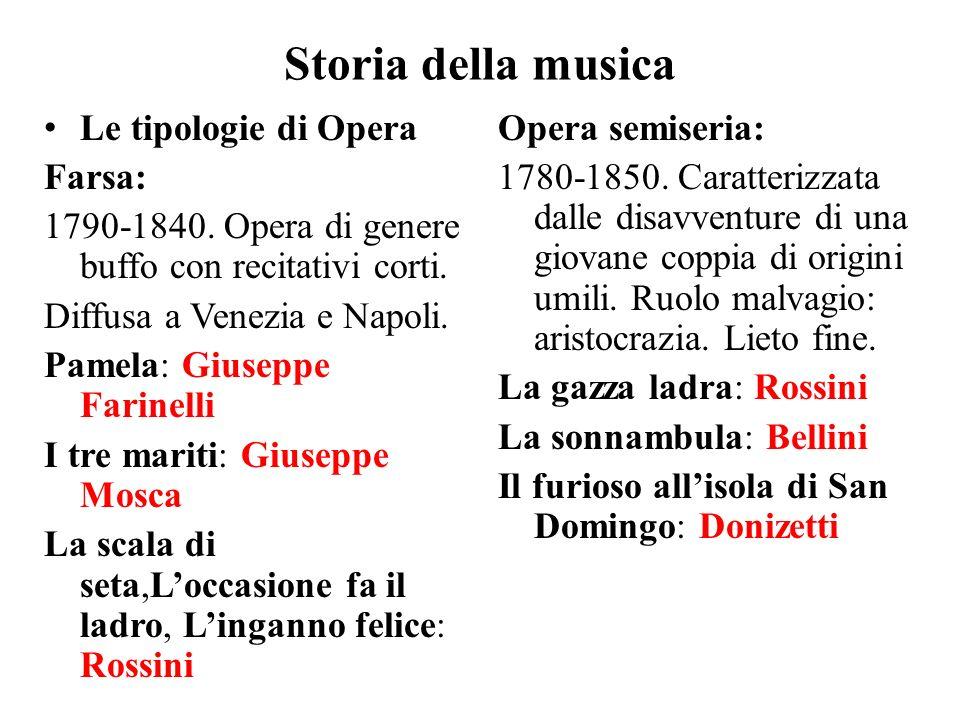 Storia della musica Le tipologie di Opera Farsa: 1790-1840. Opera di genere buffo con recitativi corti. Diffusa a Venezia e Napoli. Pamela: Giuseppe F