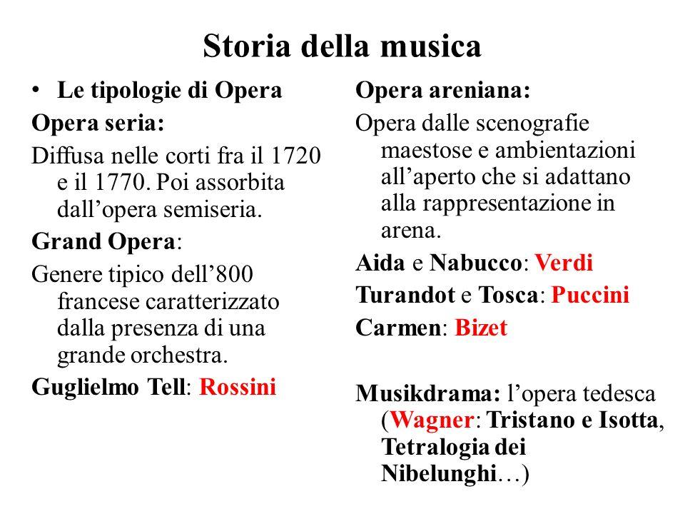 Storia della musica Le tipologie di Opera Opera seria: Diffusa nelle corti fra il 1720 e il 1770. Poi assorbita dall'opera semiseria. Grand Opera: Gen