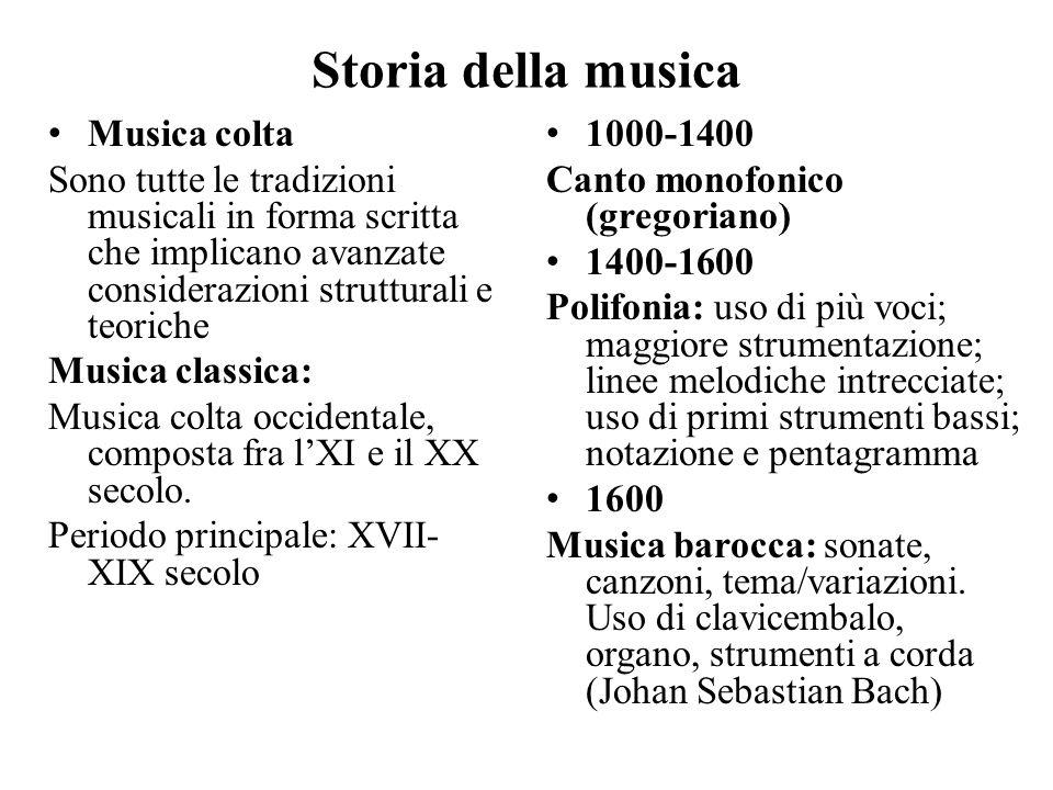 Storia della musica Musica colta Sono tutte le tradizioni musicali in forma scritta che implicano avanzate considerazioni strutturali e teoriche Music