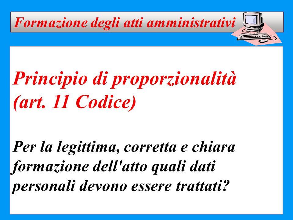 Principio di proporzionalità (art. 11 Codice) Per la legittima, corretta e chiara formazione dell'atto quali dati personali devono essere trattati? Fo