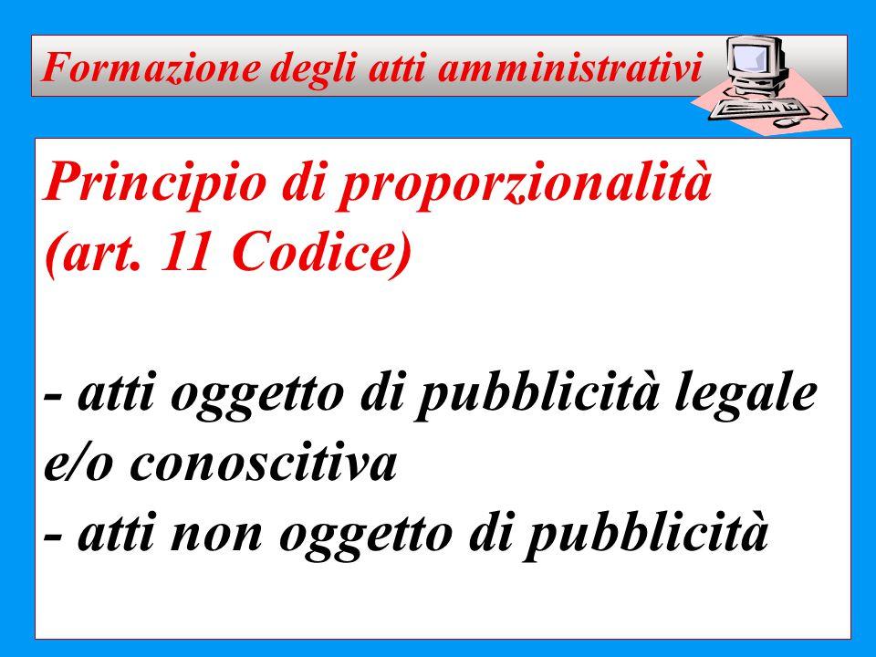 Principio di proporzionalità (art. 11 Codice) - atti oggetto di pubblicità legale e/o conoscitiva - atti non oggetto di pubblicità Formazione degli at