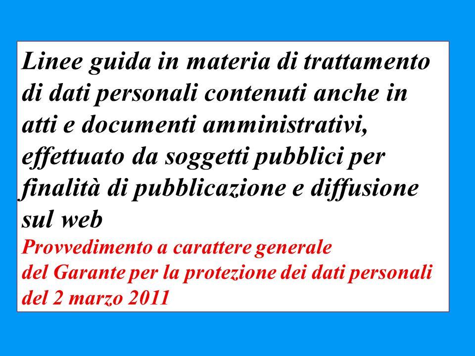Linee guida in materia di trattamento di dati personali contenuti anche in atti e documenti amministrativi, effettuato da soggetti pubblici per finali