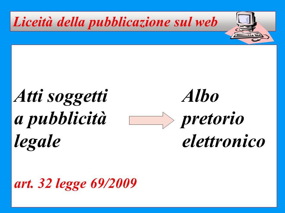 Atti soggettiAlbo a pubblicitàpretorio legaleelettronico art. 32 legge 69/2009 Liceità della pubblicazione sul web