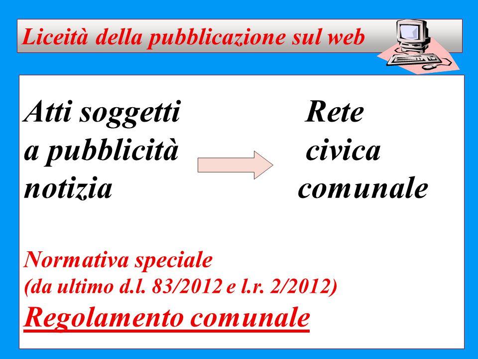 Atti soggettiRete a pubblicitàcivica notizia comunale Normativa speciale (da ultimo d.l. 83/2012 e l.r. 2/2012) Regolamento comunale Liceità della pub