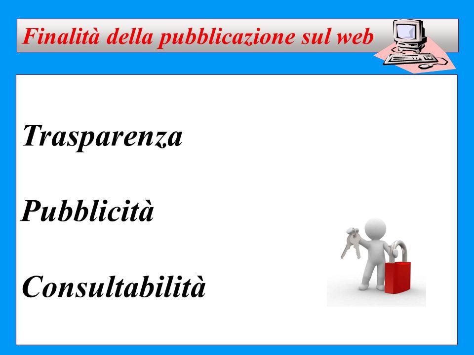 Trasparenza Pubblicità Consultabilità Finalità della pubblicazione sul web