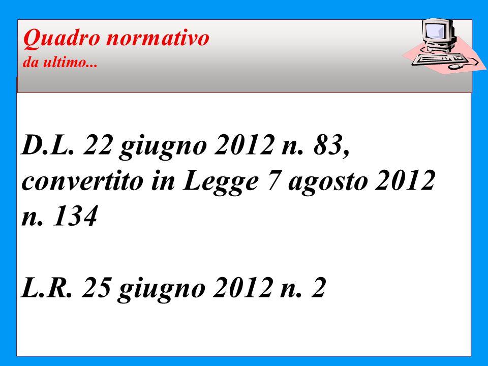 D.L. 22 giugno 2012 n. 83, convertito in Legge 7 agosto 2012 n. 134 L.R. 25 giugno 2012 n. 2 Quadro normativo da ultimo...