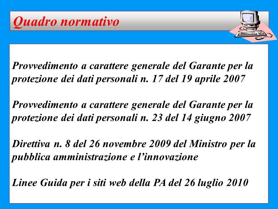 Provvedimento a carattere generale del Garante per la protezione dei dati personali n. 17 del 19 aprile 2007 Provvedimento a carattere generale del Ga