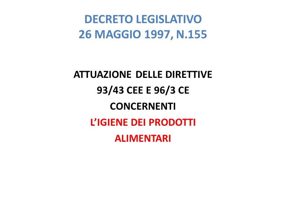 DECRETO LEGISLATIVO 26 MAGGIO 1997, N.155 ATTUAZIONE DELLE DIRETTIVE 93/43 CEE E 96/3 CE CONCERNENTI L'IGIENE DEI PRODOTTI ALIMENTARI