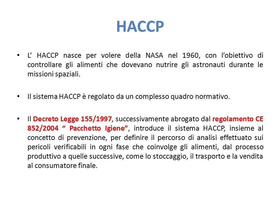 HACCP L' HACCP nasce per volere della NASA nel 1960, con l'obiettivo di controllare gli alimenti che dovevano nutrire gli astronauti durante le missio