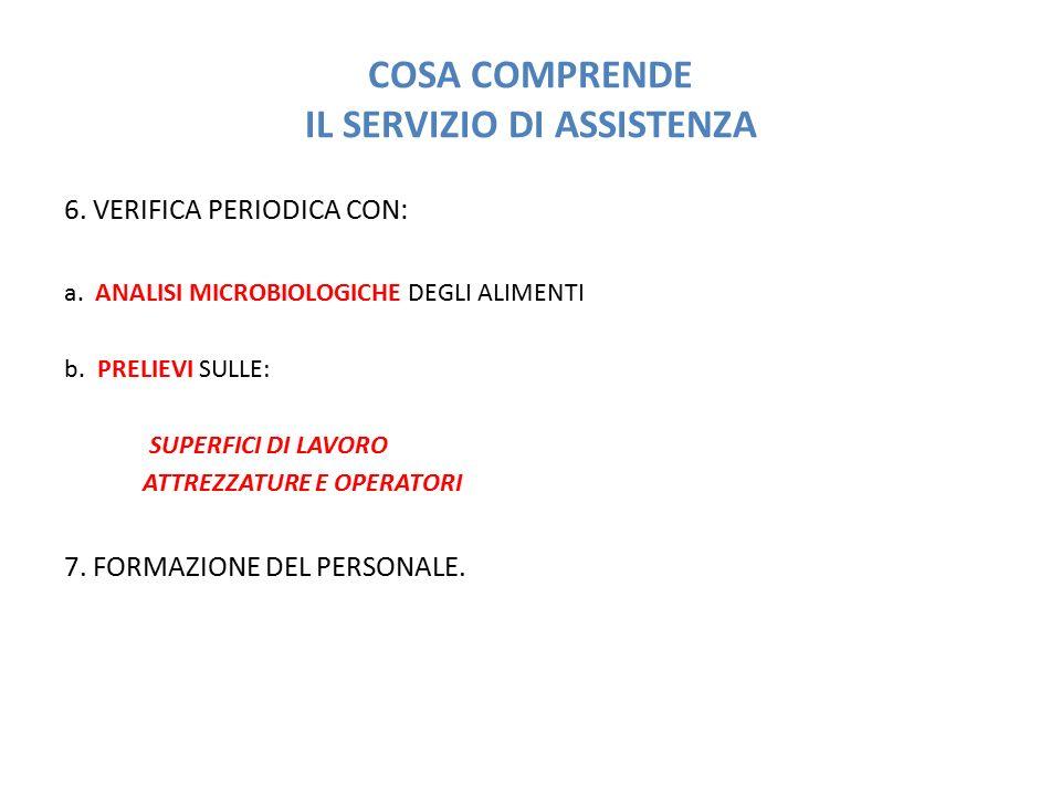 COSA COMPRENDE IL SERVIZIO DI ASSISTENZA 6. VERIFICA PERIODICA CON: a. ANALISI MICROBIOLOGICHE DEGLI ALIMENTI b. PRELIEVI SULLE: SUPERFICI DI LAVORO A