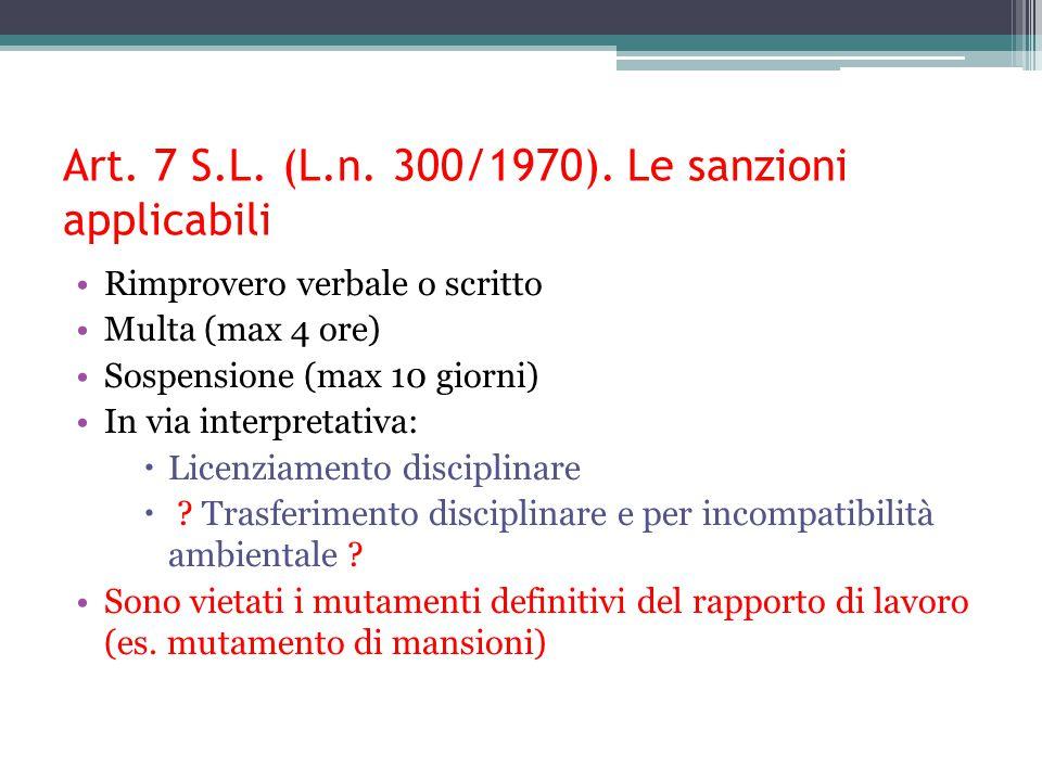 Art. 7 S.L. (L.n. 300/1970). Le sanzioni applicabili Rimprovero verbale o scritto Multa (max 4 ore) Sospensione (max 10 giorni) In via interpretativa:
