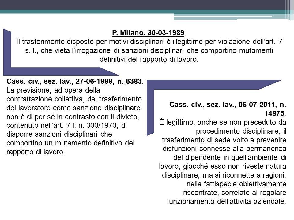 Cass. civ., sez. lav., 06-07-2011, n. 14875. È legittimo, anche se non preceduto da procedimento disciplinare, il trasferimento di sede volto a preven
