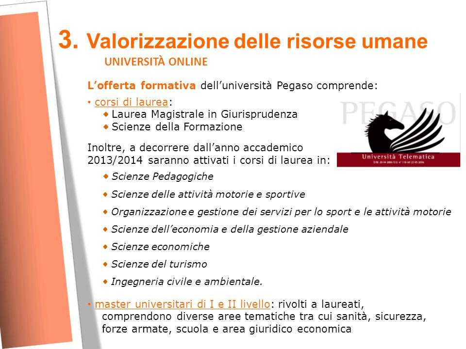 3. Valorizzazione delle risorse umane UNIVERSITÀ ONLINE L'offerta formativa dell'università Pegaso comprende: corsi di laurea: Laurea Magistrale in Gi