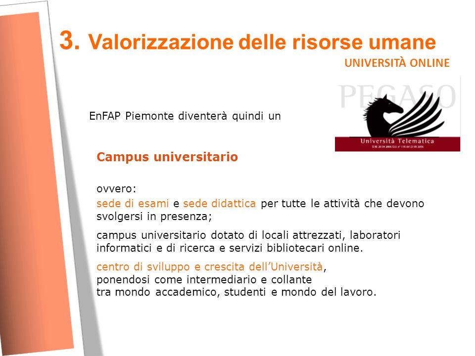3. Valorizzazione delle risorse umane UNIVERSITÀ ONLINE EnFAP Piemonte diventerà quindi un Campus universitario ovvero: sede di esami e sede didattica