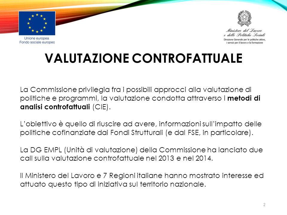 VALUTAZIONE CONTROFATTUALE La Commissione privilegia fra i possibili approcci alla valutazione di politiche e programmi, la valutazione condotta attra
