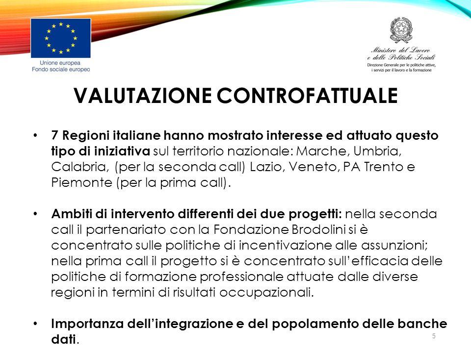 VALUTAZIONE CONTROFATTUALE 7 Regioni italiane hanno mostrato interesse ed attuato questo tipo di iniziativa sul territorio nazionale: Marche, Umbria,