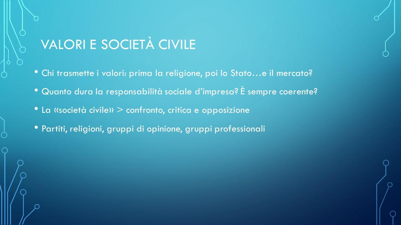 VALORI E SOCIETÀ CIVILE Chi trasmette i valori: prima la religione, poi lo Stato…e il mercato.