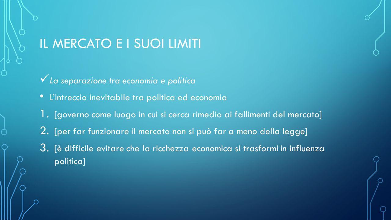 IL MERCATO E I SUOI LIMITI La separazione tra economia e politica L'intreccio inevitabile tra politica ed economia 1.