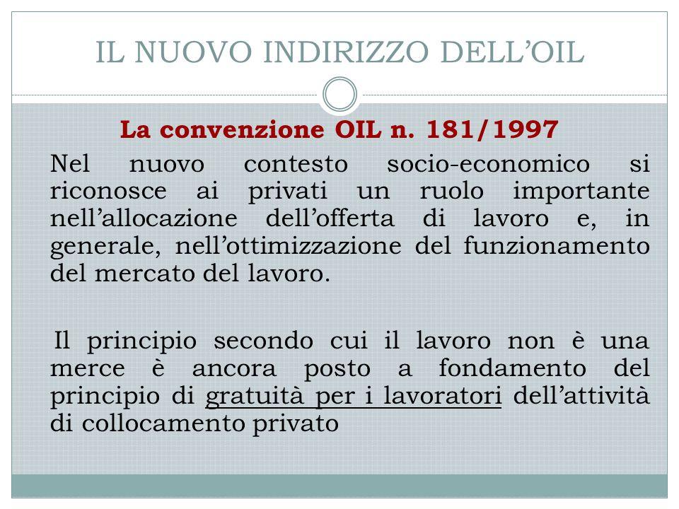 IL NUOVO INDIRIZZO DELL'OIL La convenzione OIL n. 181/1997 Nel nuovo contesto socio-economico si riconosce ai privati un ruolo importante nell'allocaz