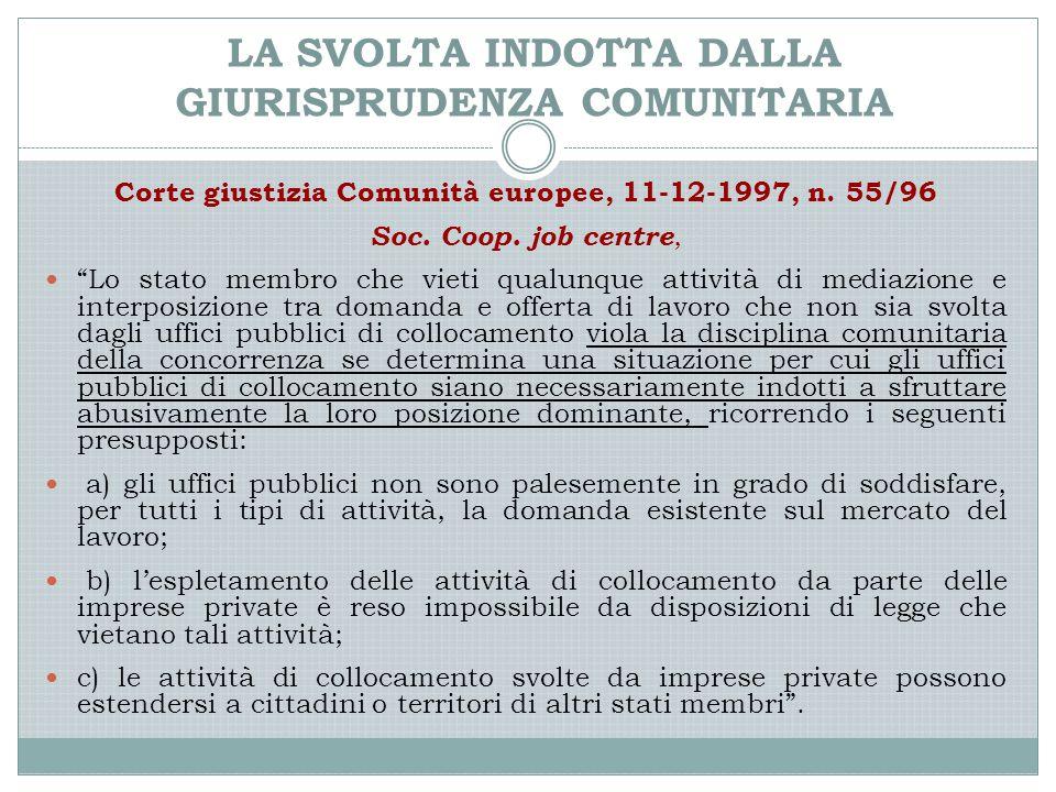 """LA SVOLTA INDOTTA DALLA GIURISPRUDENZA COMUNITARIA Corte giustizia Comunità europee, 11-12-1997, n. 55/96 Soc. Coop. job centre, """"Lo stato membro che"""