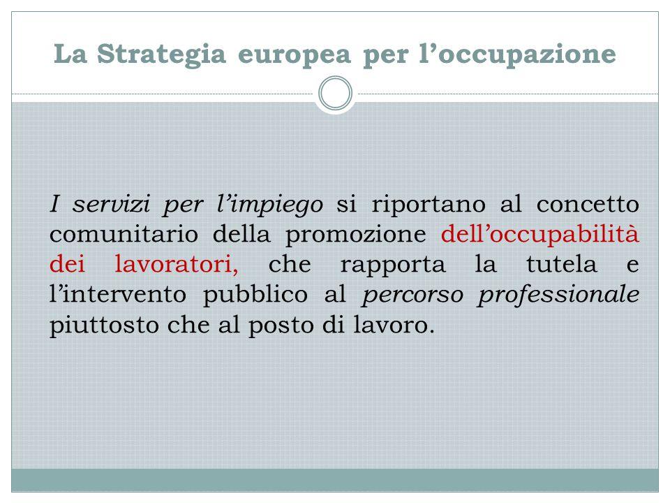 La Strategia europea per l'occupazione I servizi per l'impiego si riportano al concetto comunitario della promozione dell'occupabilità dei lavoratori,
