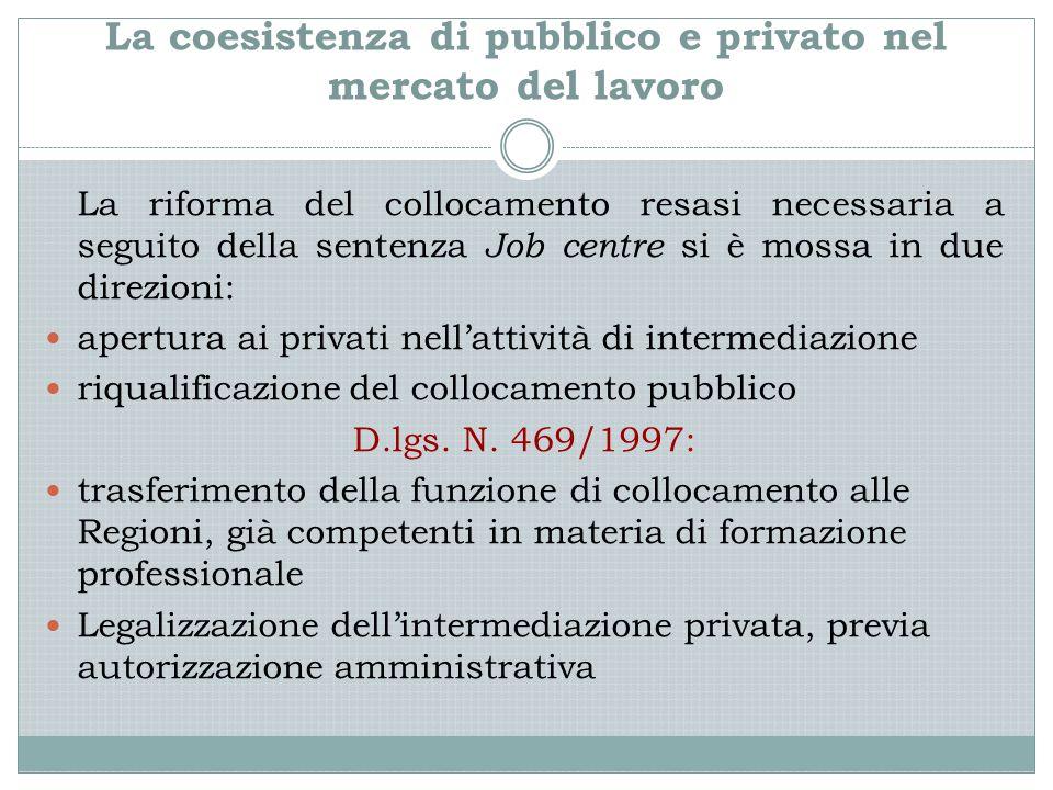 La coesistenza di pubblico e privato nel mercato del lavoro La riforma del collocamento resasi necessaria a seguito della sentenza Job centre si è mos