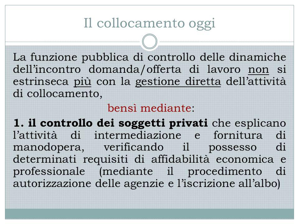 Il collocamento oggi La funzione pubblica di controllo delle dinamiche dell'incontro domanda/offerta di lavoro non si estrinseca più con la gestione d