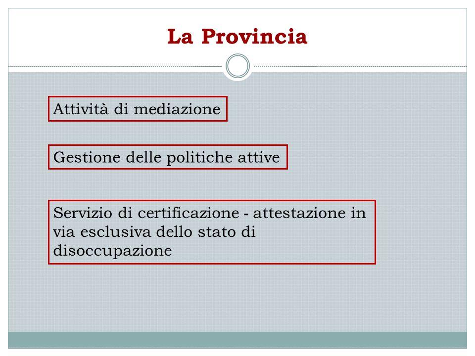 La Provincia Gestione delle politiche attive Servizio di certificazione - attestazione in via esclusiva dello stato di disoccupazione Attività di medi
