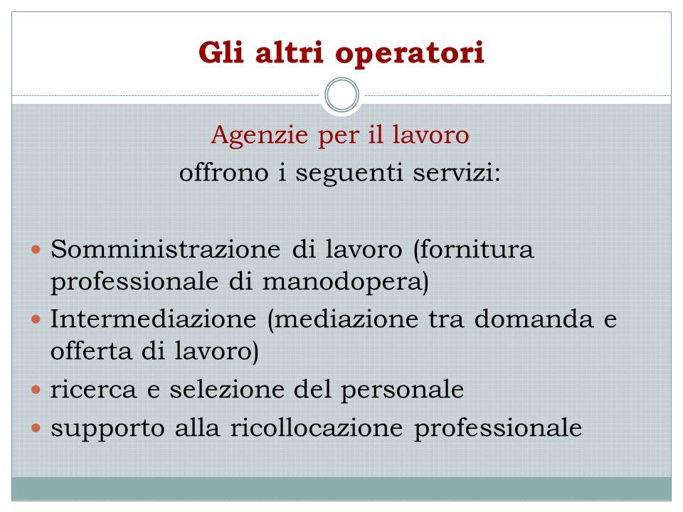 Gli altri operatori Agenzie per il lavoro offrono i seguenti servizi: Somministrazione di lavoro (fornitura professionale di manodopera) Intermediazio