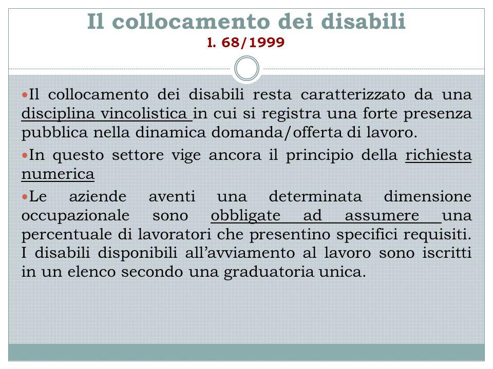 Il collocamento dei disabili l. 68/1999 Il collocamento dei disabili resta caratterizzato da una disciplina vincolistica in cui si registra una forte