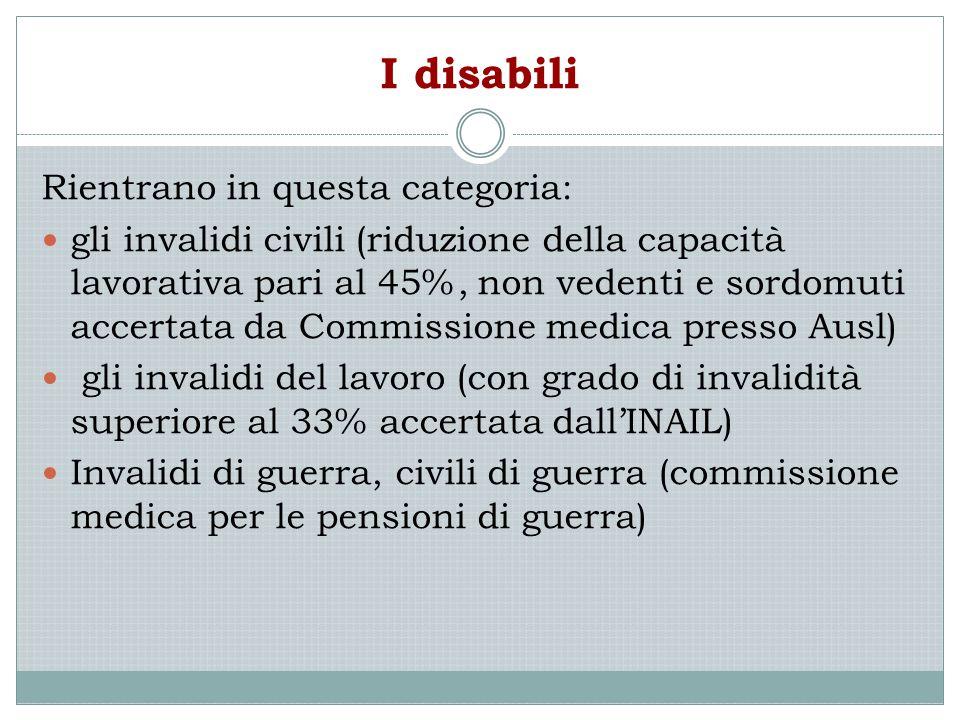 I disabili Rientrano in questa categoria: gli invalidi civili (riduzione della capacità lavorativa pari al 45%, non vedenti e sordomuti accertata da C