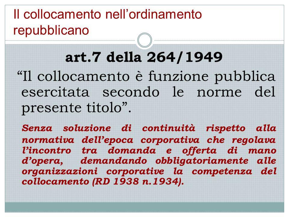 """Il collocamento nell'ordinamento repubblicano art.7 della 264/1949 """"Il collocamento è funzione pubblica esercitata secondo le norme del presente titol"""