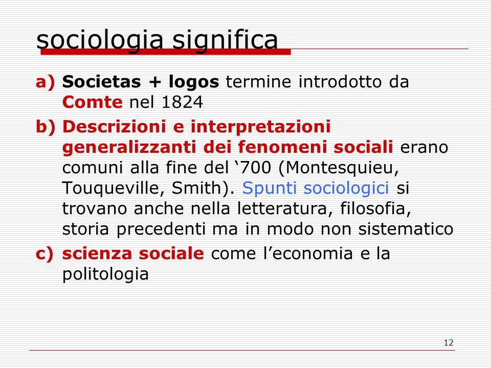 12 sociologia significa a)Societas + logos termine introdotto da Comte nel 1824 b)Descrizioni e interpretazioni generalizzanti dei fenomeni sociali erano comuni alla fine del '700 (Montesquieu, Touqueville, Smith).