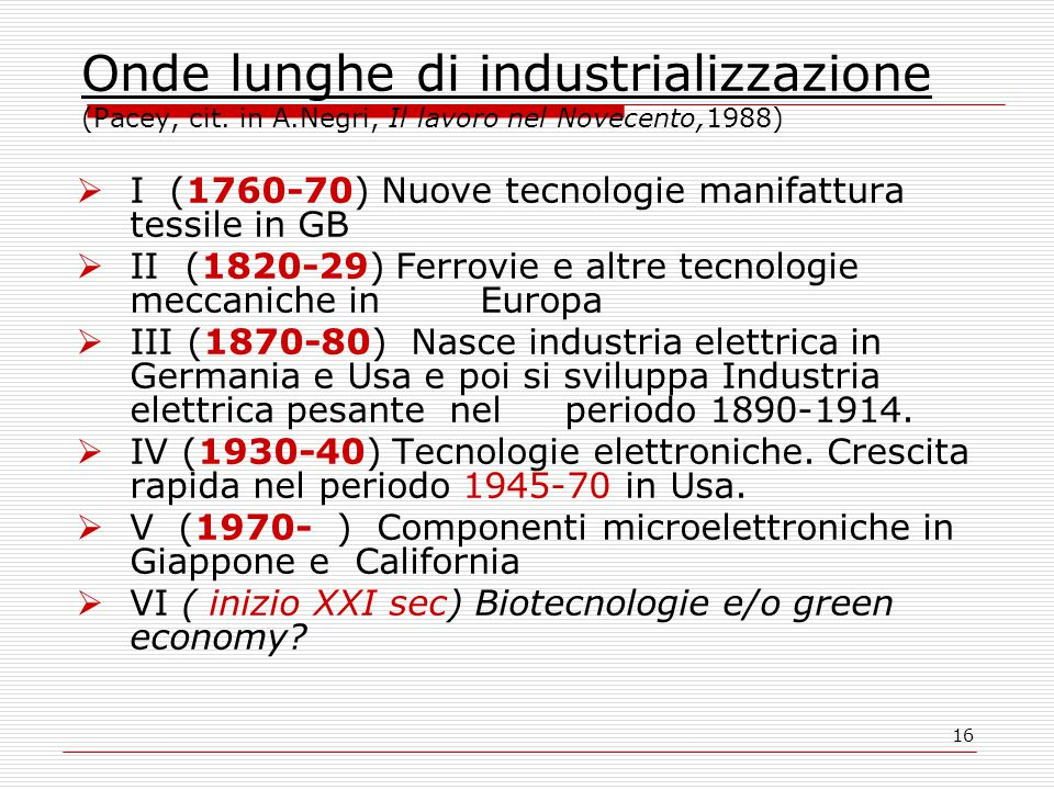 16 Onde lunghe di industrializzazione (Pacey, cit. in A.Negri, Il lavoro nel Novecento,1988)  I (1760-70) Nuove tecnologie manifattura tessile in GB