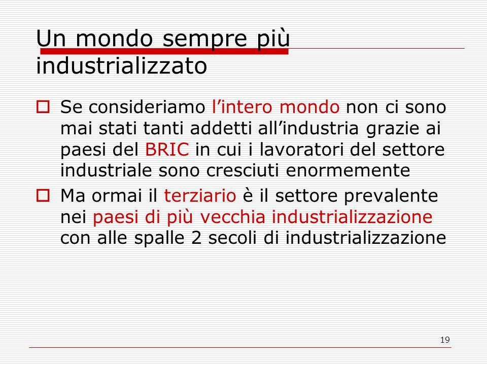 19 Un mondo sempre più industrializzato  Se consideriamo l'intero mondo non ci sono mai stati tanti addetti all'industria grazie ai paesi del BRIC in