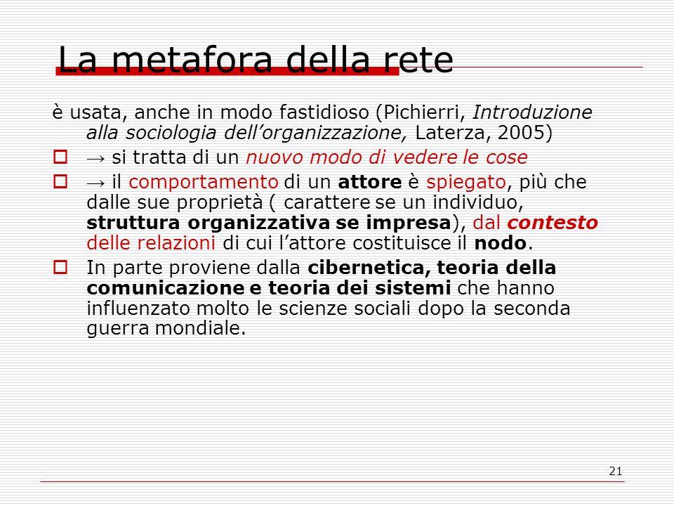 21 La metafora della rete è usata, anche in modo fastidioso (Pichierri, Introduzione alla sociologia dell'organizzazione, Laterza, 2005)  → si tratta